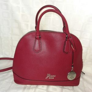 Dark Red Leather Guess Bag